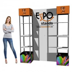 ExpoStands - Repisa exhibidor Doble con Backing