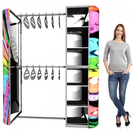 ExpoStands - Ganchera para prendas de vestir y exhibidor con repisa.
