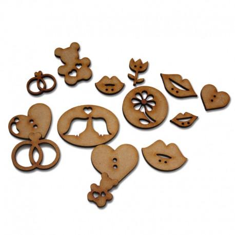 Botones en madera por 24 unidades - Amor